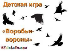 детская игра Воробьи-вороны